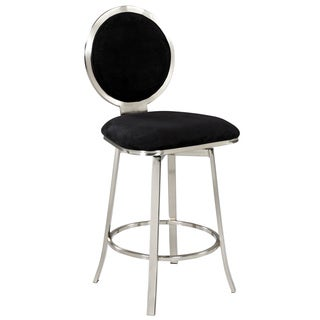 Black Upholstered Round Back Memory Swivel Bar Stool
