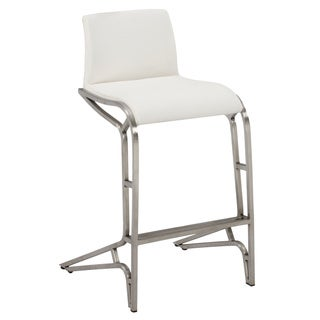 Chrome/White Modern Feet Counter Stool (Set of 2)