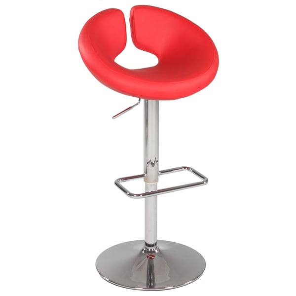 Somette Chrome/Red Pneumatic Gas Lift Swivel Height Stool