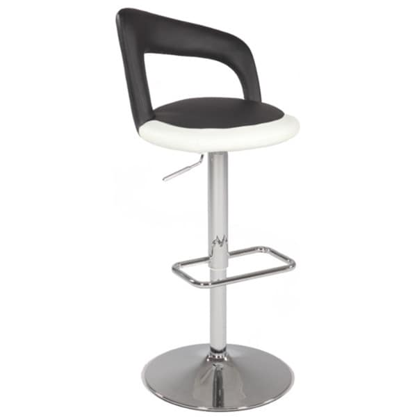 Somette Chrome/Black & White Pneumatic Gas Lift Swivel Height Stool