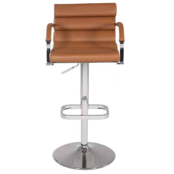 Somette Chrome/Brown Pneumatic Gas Lift Swivel Height Stool