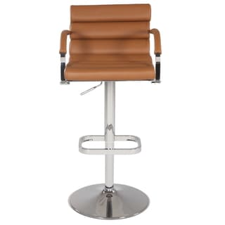 Chrome/Brown Pneumatic Gas Lift Swivel Height Stool