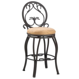 "Dark Champagne/Taupe 26"" Memory Return Swivel Counter Stool"