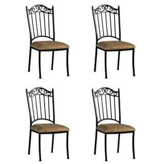 Somette Antique Taupe Suede Wrought Iron Side Chair (Set of 4)
