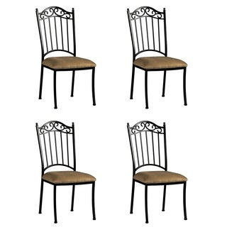 Antique Taupe Suede Wrought Iron Side Chair (Set of 4)