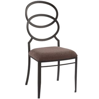 Silver Black/Brown Modern Ring Back Cushioned Side Chair (Set of 4)