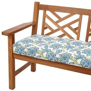 Aqua Floral 48-inch Indoor/ Outdoor Corded Bench Cushion