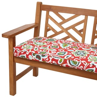 Floral Red 48-inch Indoor/ Outdoor Corded Bench Cushion