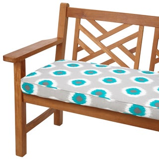 Ikat Teal Dots 48-inch Indoor/ Outdoor Corded Bench Cushion