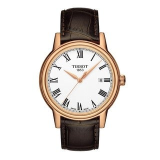 Tissot Men's 'Carson' White Dial Rose Goldtone Leather Strap Watch