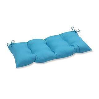 Pillow Perfect Outdoor Veranda Turquoise Wrought Iron Loveseat Cushion