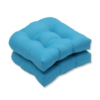 Pillow Perfect Outdoor Veranda Turquoise Wicker Seat Cushion (Set of 2)