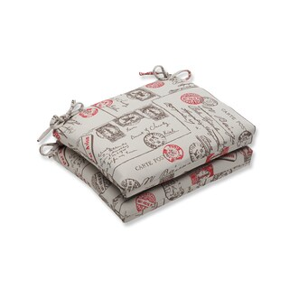 Pillow Perfect Squared Corners Seat Cushion with Bella-Dura Carte Postale Fabric (Set of 2)