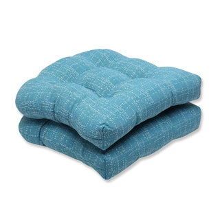 Pillow Perfect Wicker Seat Cushion with Bella-Dura Conran Turquoise Fabric (Set of 2)
