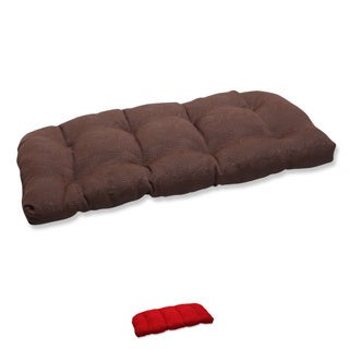 Pillow Perfect Wicker Loveseat Cushion with Bella-Dura Mandeyia Fabric