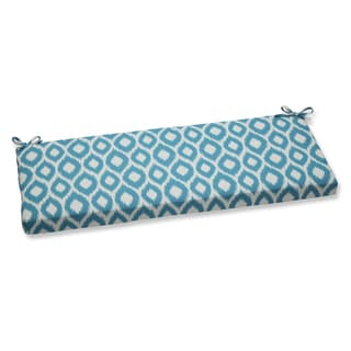 Pillow Perfect Bench Cushion with Bella-Dura Shivali Turquoise/Cream Fabric