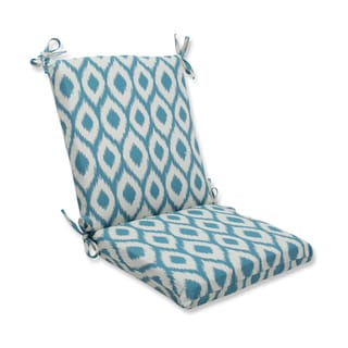 Pillow Perfect Squared Corners Chair Cushion with Bella-Dura Shivali Turquoise/Cream Fabric