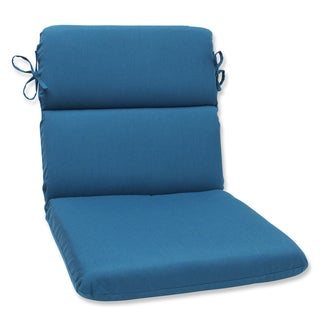 Pillow Perfect Rounded Corners Chair Cushion with Sunbrella Spectrum Peacock Fabric
