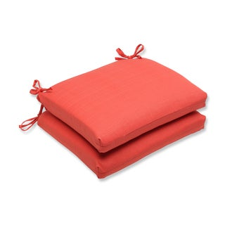 Pillow Perfect Outdoor Coral Squared Corners Seat Cushion (Set of 2)