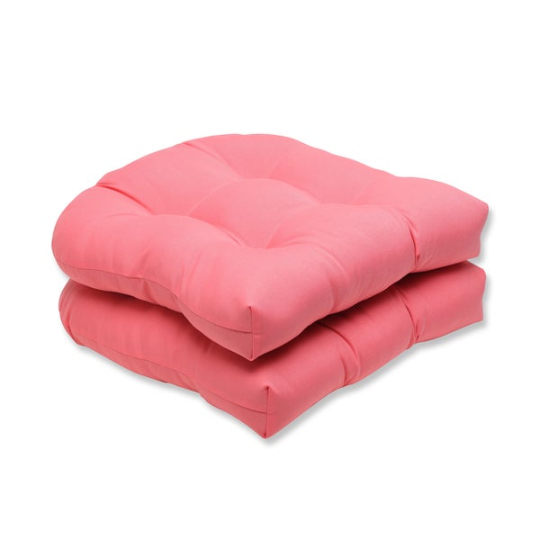 Pillow Perfect Outdoor Pink Wicker Seat Cushion Set Of 2