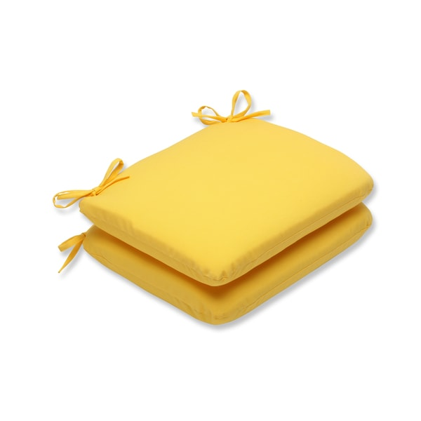 Pillow Perfect Outdoor Yellow Rounded Corners Seat Cushion