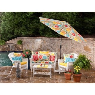 Pillow Perfect Outdoor Yellow Wicker Seat Cushion (Set of 2)