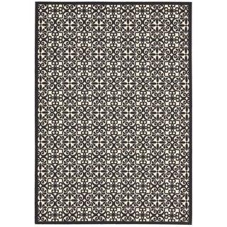 "Nourison Home and Garden Indoor/Outdoor Black-White Rug (5'3"" x 7'5"")"