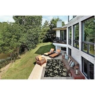 Nourison Home and Garden Indoor/Outdoor Black Rug (10' x 13')