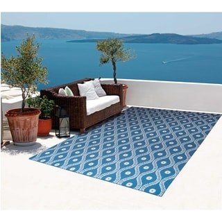 Nourison Home and Garden Navy/ Ivory Indoor/ Outdoor Rug (4'3 x 6'3)