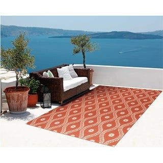 Nourison Indoor/ Outdoor Rust/ Ivory Rug (4'3 x 6'3)