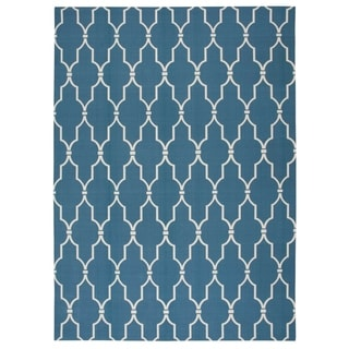 Nourison Navy Indoor/ Outdoor Rug (5'3 x 7'5)