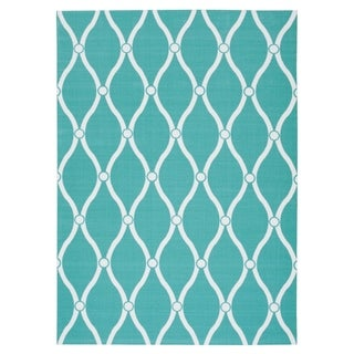 Nourison Aqua Geometric Indoor/Outdoor Area Rug (5'3 x 7'5)