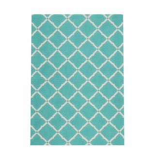 Nourison Aqua and Ivory Geometric Diamonds Indoor/Outdoor Area Rug (5'3 x 7'5)