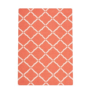 Nourison Orange and Ivory Geometric Diamonds Indoor/Outdoor Area Rug (5'3 x 7'5)
