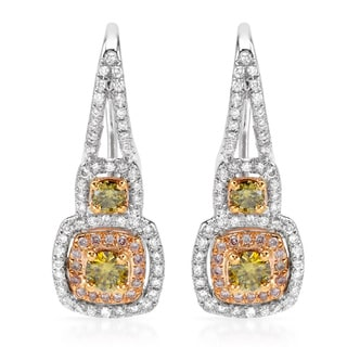 18k Two-tone Gold 1 1/10ct TDW Multi-color Diamond Earrings (H-I, SI1-SI2)