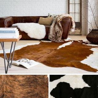Hand Crafted Leather Safari Area Rug-(7' Square)