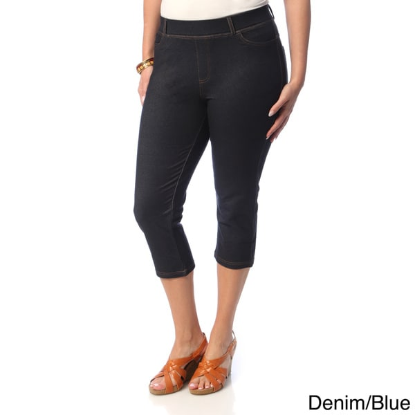 La Cera Women's Plus Size 5-pocket Denim Capri Pants