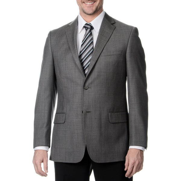 Henry Grethel Men's 2-button Sharkskin Grey Double Vent Suit Jacket