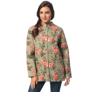 La Cera Women's Sage Reversible Quilted Mandarin Collar Jacket