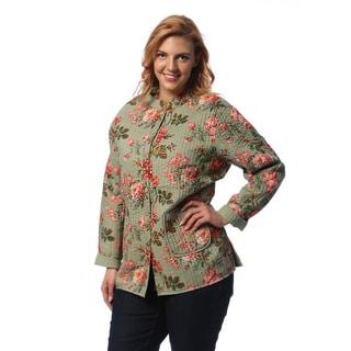 La Cera Women's Plus Size Sage Quilted Mandarin Collar Jacket