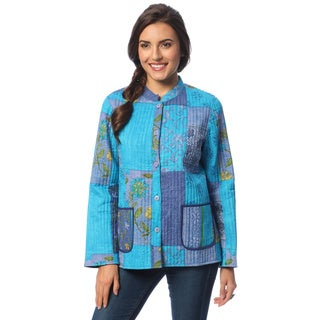 La Cera Women's Blue Reversible Quilted Mandarin Collar Jacket