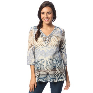 La Cera Women's Ivory/ Blue Abstract Print Tunic