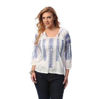 La Cera Women's Plus Size Cotton Hand-embroidered Peasant Top