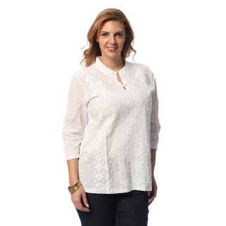 La Cera Women's Plus Size White Hand-appliqued Tunic
