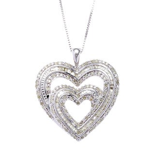 Sterling Silver 1ct TDW Diamond Accent Heart Box Chain Pendant Necklace (I-J, I2-I3)