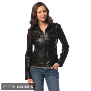 Tommy Hilfiger Women's Leather Zip-up Jacket
