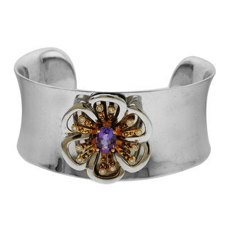 Sonia Bitton 14k Two-tone Gold 1/6ct TDW Diamonds and Amethyst Cuff Bangle (H-I, SI1-SI2)