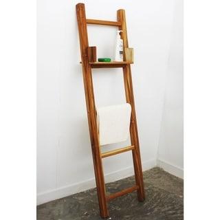 Hand-carved 18 x 64 Farmed Teak Teak Oil Towel Ladder with Adjustable Shelf (Thailand)