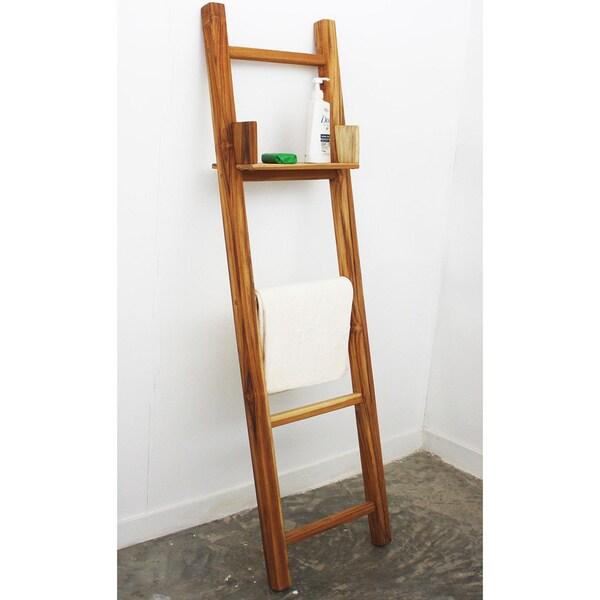 Teak Adjustable Shelf 64 Inch Towel Ladder Thailand