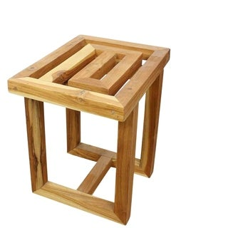 Hand-carved Teak Maze Spa Stool (Thailand)